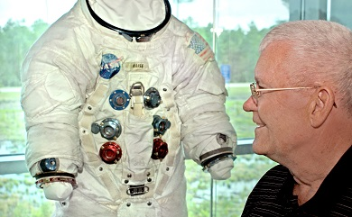 Fred next to his space suit